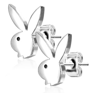 Pierce2GO Playboy 316L 20G Surgical Steel Bunny Earrings Studs Plated for Women 0.8 MM - Playboy Licensed