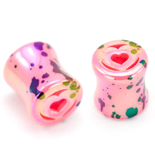 Load image into Gallery viewer, Heart Paint Splatter Plugs, Acrylic Ear Plug Set, 0 Gauge / 8mm