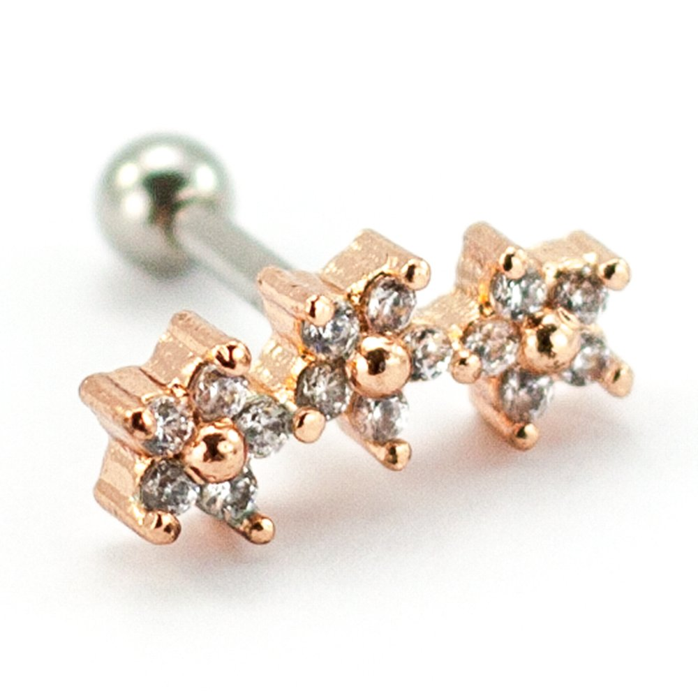 Pierce2go Three Rose Gold Flowers Cartilage/Tragus Ring with Clear Stones - 16 Gauge - 1/4