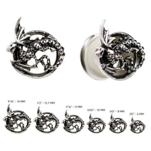 Load image into Gallery viewer, Pierce2GO Surgical Steel Silver Dragon Ear Plug Tunnels Gauges Expanders Stretchers