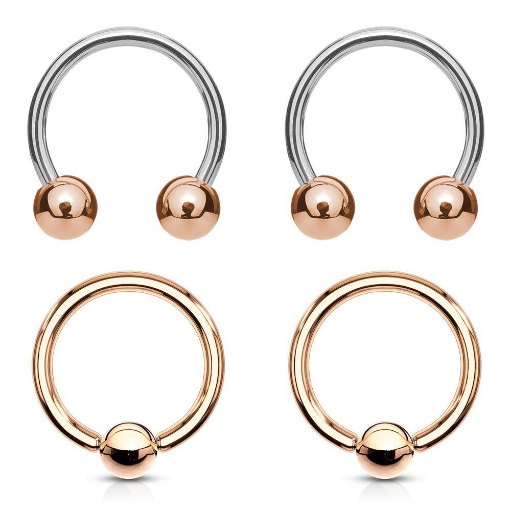4Pcs 16G Rose Gold Set of Horseshoes & Captives Bead Rings 3/8