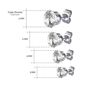 Pierce2GO (4 Pairs Womens Silver 316L Surgical Stainless Steel Round Clear Cubic Zirconia Stud Earring 3-6MM