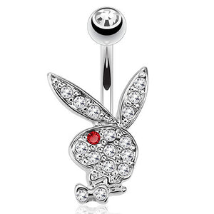 "Pierce2GO Playboy 14G 316L Surgical Steel Belly Button Ring Mixed Colors 3/8"" Barbell"
