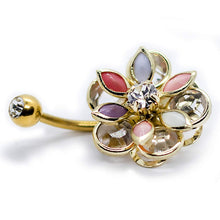 Load image into Gallery viewer, Gold Flower with Anodized Gold Belly Button Ring