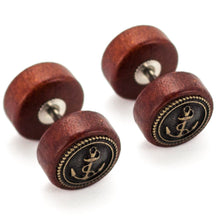 "Load image into Gallery viewer, Pierce2GO 2 x Wooden Faux Plug with Antique Gold Anchor - 16 Gauge - 1/4"" 316L Barbell"