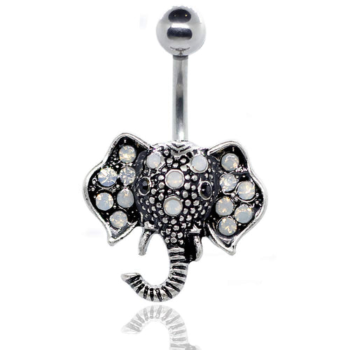 Pierce2GO Silver 14G Elephant Belly Button Ring White Faux Opal Stone Body Piercing Jewelry Women Navel Ring 316L Surgical Steel Barbell 7/16