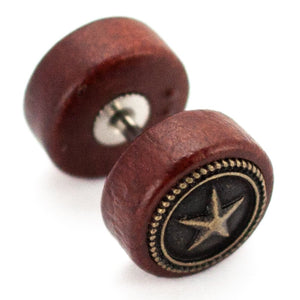 "Pierce2GO Wooden Faux Plug with Star - 16 Gauge - 1/4"" 316L Barbell (1 Pack)"