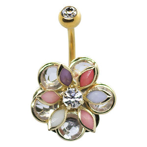 Gold Flower with Anodized Gold Belly Button Ring