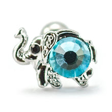 "Load image into Gallery viewer, Pierce2go Silver Elephant Cartilage/Tragus Ring with Aqua Stone - 16 Gauge - 1/4"" Barbell Length"