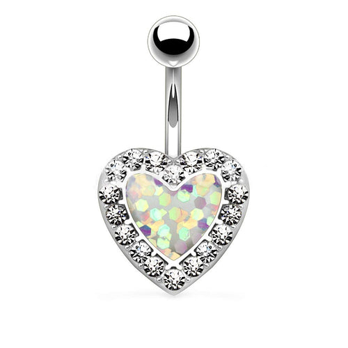 Pierce2GO 14G Silver 316L Silver Surgical Steel White Heart Belly Button Ring with Clear Stones 9/16