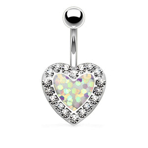 "Pierce2GO 14G Silver 316L Silver Surgical Steel White Heart Belly Button Ring with Clear Stones 9/16"" Barbell Body Piercing Jewelry Women"