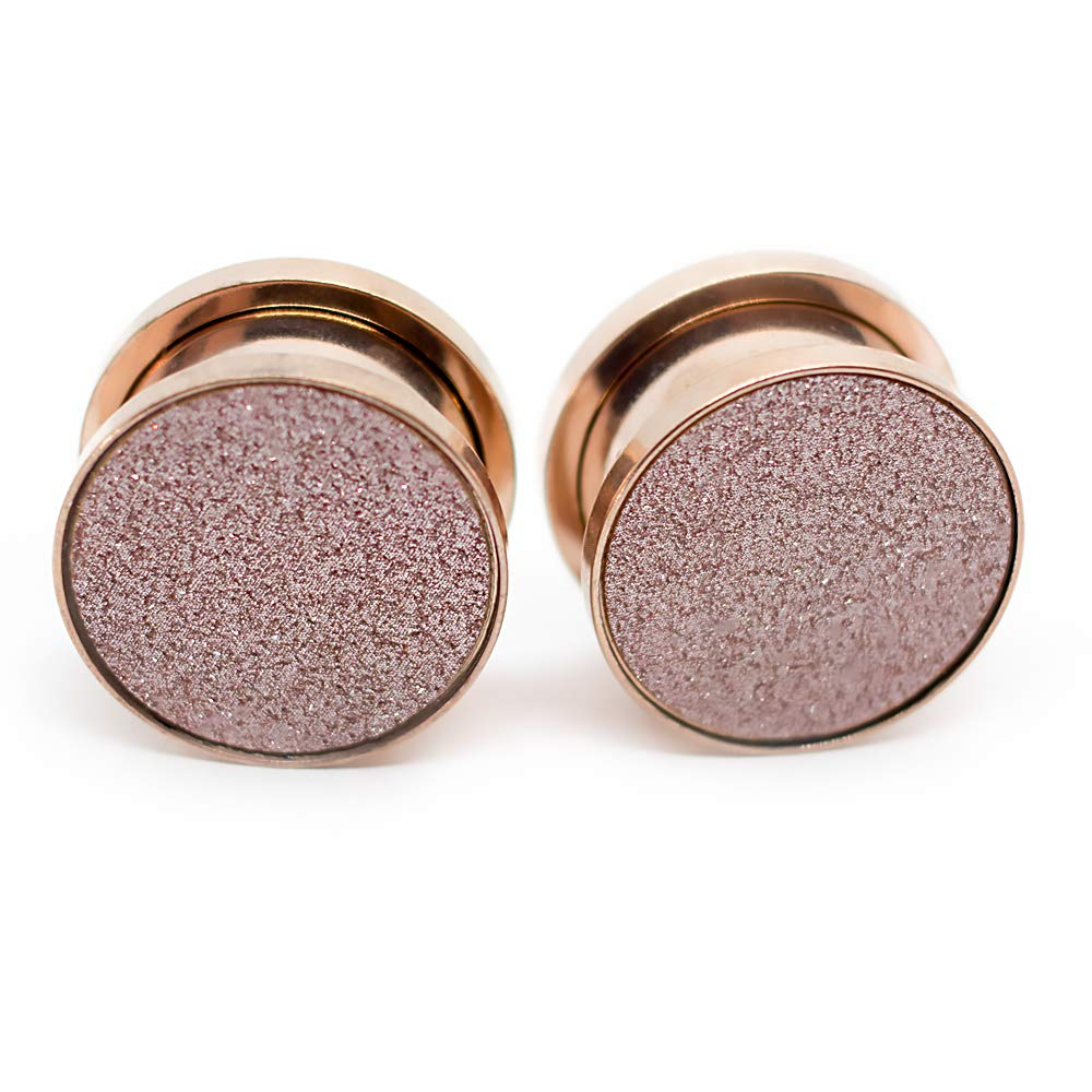 Pierce2GO Rose Gold Gauge Sandpaper Ear Plug Set Stainless Steel (3/4