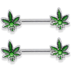 "14G Marijuana Weed Nipple Rings Piercing Women 9/16"" Barbell"