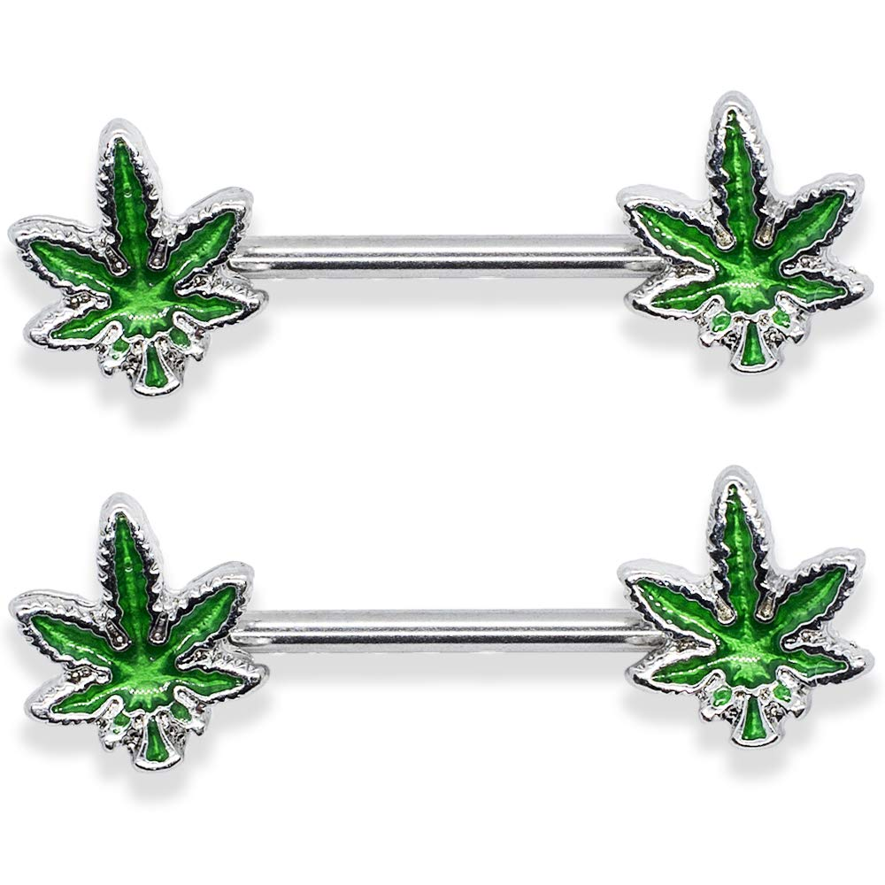 14G Marijuana Weed Nipple Rings Piercing Women 9/16