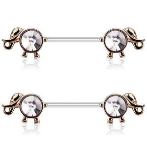 "Pierce2GO 2Pcs Elephant Nipplerings Piercing Barbell Women Ring Set with a Crystal Center 9/16"" Barbell"