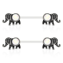 "Load image into Gallery viewer, Pierce2GO 2Pcs Elephant Nipplerings Piercing Barbell Women Ring Set with a Crystal Center 9/16"" Barbell"