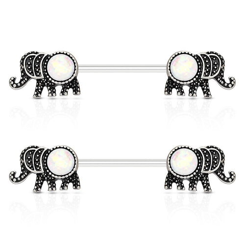 Pierce2GO 2Pcs Elephant Nipplerings Piercing Barbell Women Ring Set with a Crystal Center 9/16