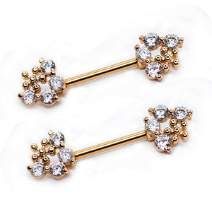 "Pierce2GO 2 Pcs 14G Rose Gold Flower Pendant with Clear Stones Nipplerings Piercing Women Nipple Rings - 9/16"" Barbell"