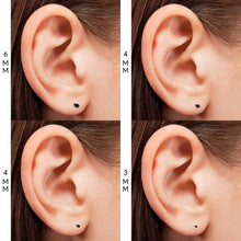 Load image into Gallery viewer, Pierce2GO (4 Pairs Womens Silver 316L Surgical Stainless Steel Round Black Cubic Zirconia Stud Earring 3-6MM
