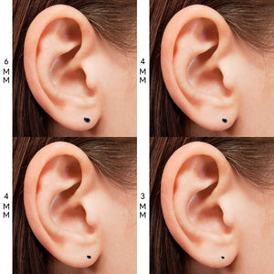 Pierce2GO (4 Pairs Womens Silver 316L Surgical Stainless Steel Round Black Cubic Zirconia Stud Earring 3-6MM