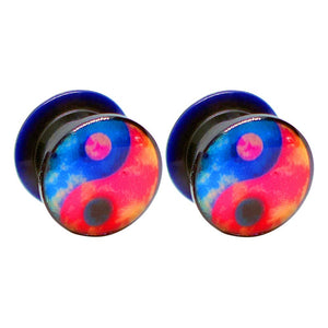 Pierce2GO Black with Blue and Red YingYang Design Acrylic Plugs Set Ear Gauges Flesh Tunnels Plugs Stretchers Expander Ear Piercing Jewelry