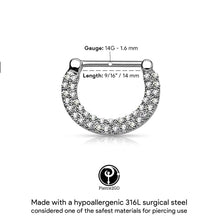 Load image into Gallery viewer, Pierce2GO Silver 14G 316L Surgical Steel Double Lined Crystal Paved Nipple Clickers 9/16""