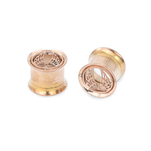 Pierce2GO Stainless Steel Rose Gold Wing Plugs Ear Gauges Flesh Tunnels Plugs Stretchers Expander Ear Piercing Jewelry