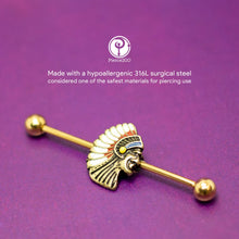 Load image into Gallery viewer, Pierce2GO 14G 38MM Stainless Steel Gold Vintage Cherokee Indian Chief Head Industrial Barbell Ear Piercing Bar 1 1/2