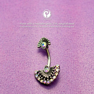 "Pierce2GO Peacock Plumage Belly Ring with AB Stones - 14 Gauge - 7/16"" Barbell - 316L Surgical Steel"