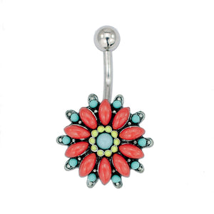 "Tribal Flower Belly Ring Piercing, Floral Theme Belly Banana - Flower Navel Ring, Stainless Steel Flower Belly Button Ring, 14 Gauge - 7/16"" Barbell Length - 316L Surgical Steel"
