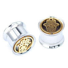 Load image into Gallery viewer, Pierce2GG Stainless Steel Gold Hamsa Hand Ear Gauges Flesh Tunnels Plugs Stretchers Expander Ear Piercing Jewelry