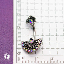 "Load image into Gallery viewer, Pierce2GO Peacock Plumage Belly Ring with AB Stones - 14 Gauge - 7/16"" Barbell - 316L Surgical Steel"