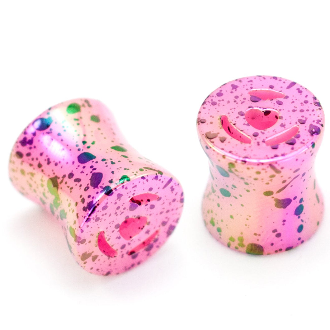 Heart Paint Splatter Plugs, Acrylic Ear Plug Set, 00 Gauge / 10mm