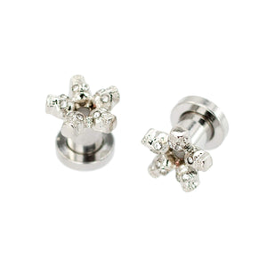 Pierce2go Skull Tunnel, Stainless Steel Ear Tunnel Set, 2 Gauge / 6mm