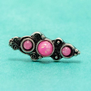 "Pierce2GO Silver Cartilage/Tragus Ring with Pink Opal Stones - 316L Surgical Steel - 16 Gauge - 1/4"" Barbell"