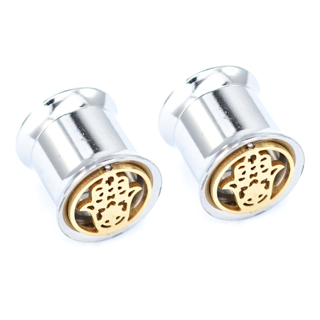 Pierce2GG Stainless Steel Gold Hamsa Hand Ear Gauges Flesh Tunnels Plugs Stretchers Expander Ear Piercing Jewelry