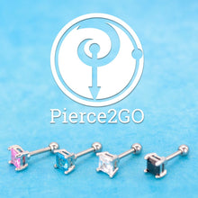 "Load image into Gallery viewer, Pierce2GO Clear Square CZ Stone Cartilage/Tragus Ring - 316L Surgical Steel - 16 Gauge - 1/4"" Barbell"