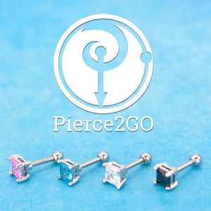 "Pierce2GO Clear Square CZ Stone Cartilage/Tragus Ring - 316L Surgical Steel - 16 Gauge - 1/4"" Barbell"