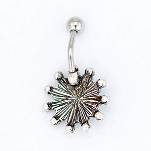 "Tribal Sunflower Belly Ring Piercing, Floral Theme Belly Banana - Sunflower Navel Ring, Stainless Steel Flower Belly Button Ring, 14 Gauge - 7/16"" Barbell Length - 316L Surgical Steel"