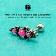 "Load image into Gallery viewer, Pierce2GO Silver Cartilage/Tragus Ring with Pink Opal Stones - 316L Surgical Steel - 16 Gauge - 1/4"" Barbell"