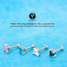 "Load image into Gallery viewer, Pierce2GO 4 Pack - Square CZ Stone Cartilage/Tragus Ring - 316L Surgical Steel - 16 Gauge - 1/4"" Barbell"