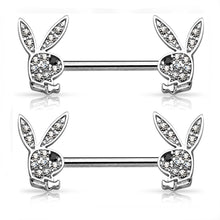 "Load image into Gallery viewer, Playboy Silver Stainless Steel 14G 9/16"" Playboy Nipplerings Piercing Barbell Bunny Logo Licensed Jewelry"