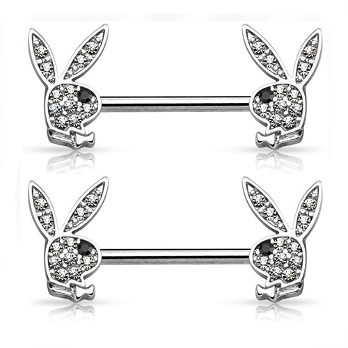 Playboy Silver Stainless Steel 14G 9/16