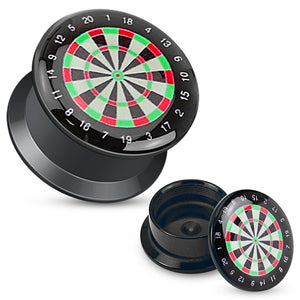 Classic Dartboard Black Acrylic Plugs Ear Plug Set