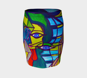 ArtzOnMe Abstract Fitted Skirt