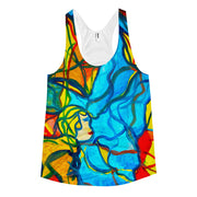 ArtzOnMe Blue Stained Glass racerback tank