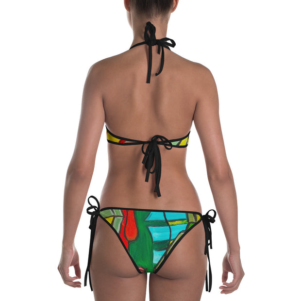 ArtzOnMe Green Abstract Reversible Bikini
