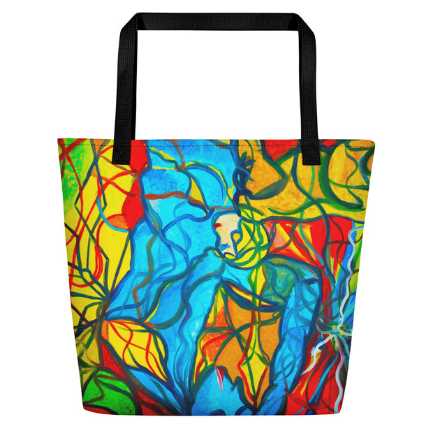 ArtzOnMe Blue Stained Glass Beach Bag