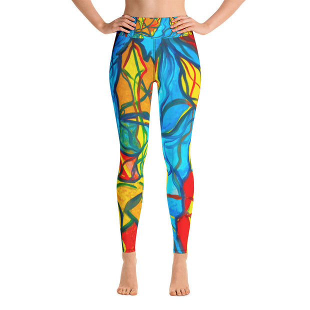 ArtzOnMe Bright Stained Glass Yoga Leggings