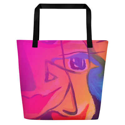 ArtzOnMe Happy Pink Beach Bag